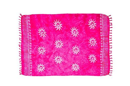 ManuMar Damen Sarong | Pareo Strandtuch | Leichtes Wickeltuch in pink mit Sonne-Motiv mit Fransen-Quasten 115x155 cm