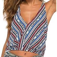 OPAKY Ropa Camiseta sin Mangas Tank Tops para Mujeres Blusa de Tirantes con Flecos en Color Sexy de la Moda de Verano Sexy Deporte Casual Blusa Tops Blusas Crop Vest T Shirt Fiesta en la Playa