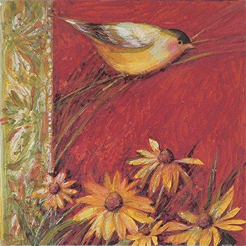 2 Gerahmte Vogel-prints (Artland Poster Kunstdruck aufgezogen auf Holz-Platte Wand-Bild Susan Winget Yellow Bird II Tiere Vögel Malerei Rot 29 x 29 x 1,2 cm A5WT)