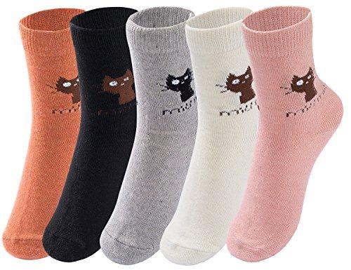 Cindeyar 5 Paar Mädchen Socken Lässige Damen Socken atmungsaktive Baumwolle Winter Socken , Verschiedene Farben und Motive (35-38, Stil 9) (Socken Winter Beste)