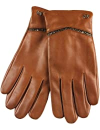 ELMA Men's Nappa leather Winter Gloves Gold Plated Logo Snake Skin Details