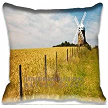 Home Decorative Throw Pillow Covers Cotton Polyester Square Pillow Cases Golden Wheat Field Landscape Couch Cushion Covers 18x18inch