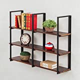 QIANDA Wandregal Schweberegal 3 Stufen Wand Bücherregal Eisen Metall Holz Lagerregal Kleinteilregal Retro Loft Stil, Multi-Size-Option (Größe : 100cm)