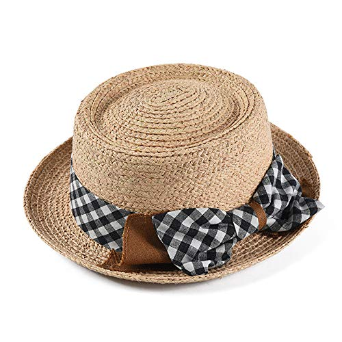 WAYPGC Frauen Retro Strohhut, Lafite Hut mit Plaid Bow, Tropical Style Strohhut, Summer Beach Curling Sonnenhut (Womens Kleine Floppy-hut)