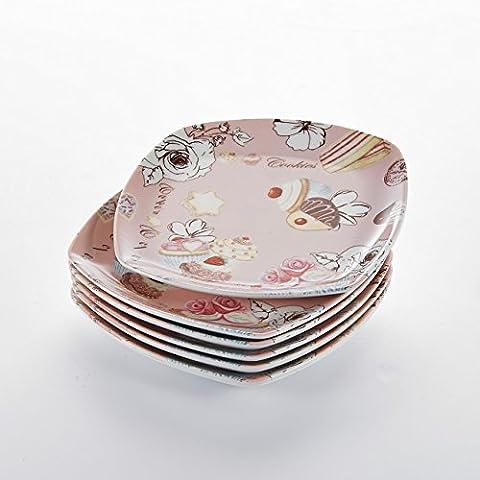 Malacasa, Série Regular, 6pcs 17,1cm Assiette à Dessert Gâteau en Porcelaine Service de Table Vaisselle Assiette Plate Rose