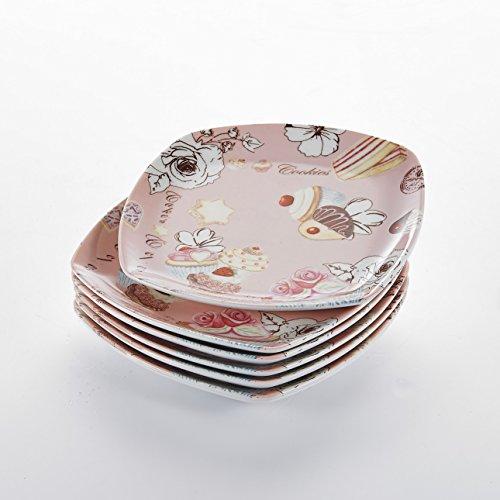 """Servierplatte, Malacasa, Serie Regular, 6-teilig Set 6,75\"""" / 17,2*17,2*2,3cm Porzellan Serviergeschirr, Dessertteller, Kuchenteller, Speiseteller"""
