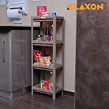 Klaxon Plastic 4 Tier Bathroom Kitchen Storage Organizer Shelf (Brown)