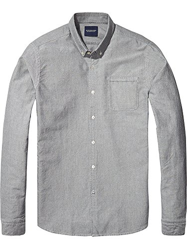 Scotch & Soda Herren Langarmshirt Ams Blauw Classic Denim Inspired Slim Fit Oxford Shirt in SE Schwarz (Black 90)