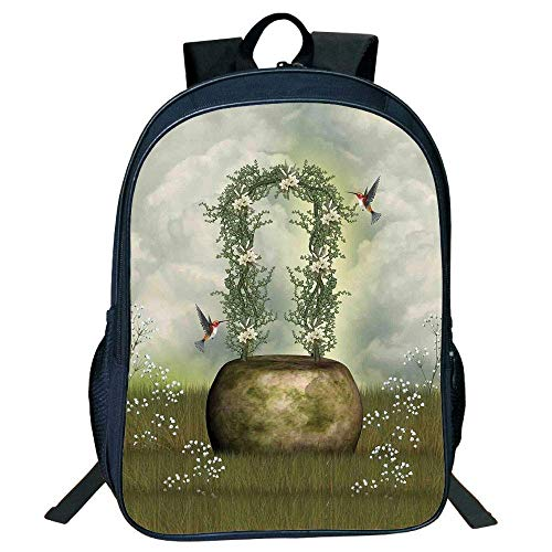 HOJJP Schultasche Stylish Unisex School Students Hummingbirds Decorations,Fairytale Scene Flowers Stone Hummingbird Wildflower Arch Cloudy Sky Kids. -