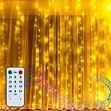 2M * 2M Lichtervorhang Weihnachten LED Vorhang Lichterkette Innen Batterienbetrieben Wasserfall Lichterketten Vorhang Warmweiß Fernbedienung...