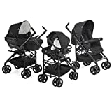 Chicco - Trio Sprint Black, Poussette Combinée 3 en 1, Black Night