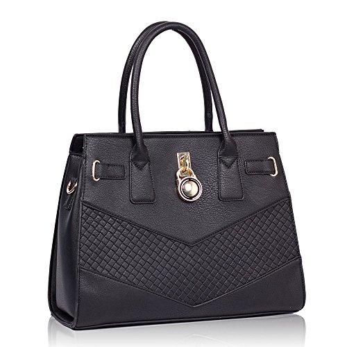 HB Style - Borsa sacchetto stile lusso Ragazza donna Black