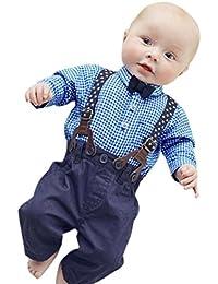 ropa ninos, Switchali 1 set Infantil Bebé Niño moda Hermoso Tartán camiseta linda manga larga blousa + Pantalones Trajes de ropa para chico Corbata algodón camisas barato