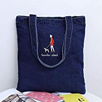Payonr Large Capacity Foldable Tote Bag Walking the Dog Large Capacity Ladies Denim Handbag Shoulder Shopping Bag Dark Blue