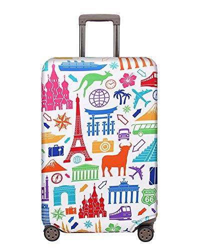 ZIXINGA Elastique Housse De Valise Luggage Cover pour 18-32 Pouce Valise, Protection De Valise Housse Bagage Voyager Protecteur Couverture (Héritage du Monde,L)