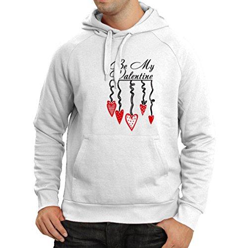 lepni.me N4155H Felpa con Cappuccio Stylish Love Present, Great St. Valentine Gift Bianco Nero