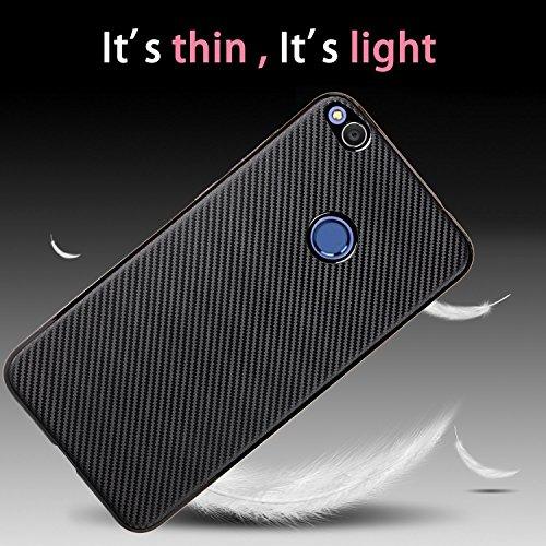 YHUISEN Slim Carbon Fiber Gummi Soft TPU Hybrid Shockproof Case Cover für Huawei P9 Lite 2017 ( Color : Black ) Rose Gold