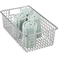 mDesign Cesta metálica con asas para guardar cosméticos – Resistente cesta de baño, también ideal como organizador de cocina – Compacta cesta organizadora para productos de higiene – plateado