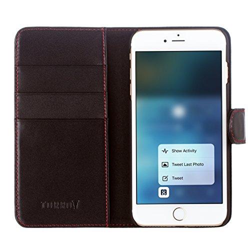 iPhone 8 Plus / iPhone 7 Plus Ledertasche, Hülle, echtleder Brieftasche mit Bargeld / Visitenkartenslot, Dunkelbraun von TORRO Schwarz