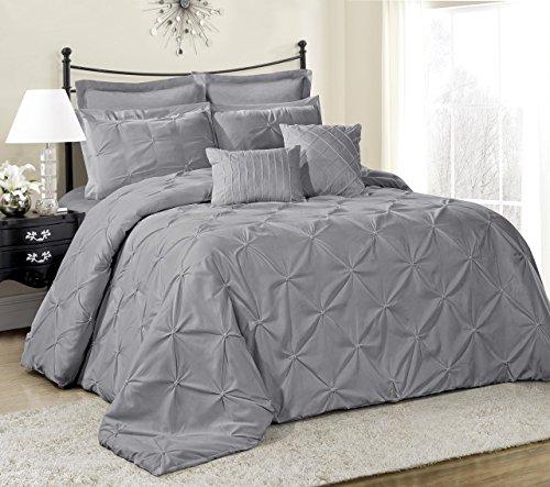8Stück Lucilla Bed in a Bag Tröster sets- Queen King Cal. King Size, Polyester-Mischgewebe, grau, Queen -