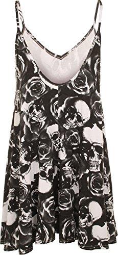 WearAll - Grande taille imprimé mini-robe débardeur top - Robes - Femmes - Tailles 44 à 54 Noir Blanc