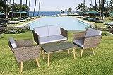 Jet-Line Gartenmöbel Cassis in braun meliert Neu Lounge Garten Lounge retro Design Terasse Balkon Möbel - 2
