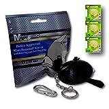 Minder Mini Key Ring Persönliche Schlüsselalarm Angriff Rape Alarm 140dB mit Fackel (Schwarz) + Ersatz Batterie-Set