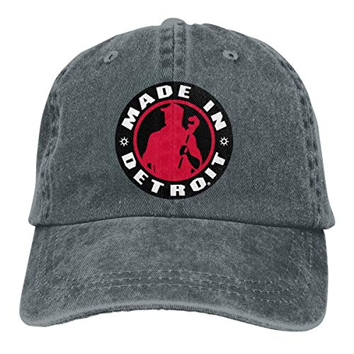 Made in Detroit Retro Adjustable Cowboy Denim Hat Unisex Hip Hop Black Baseball Caps