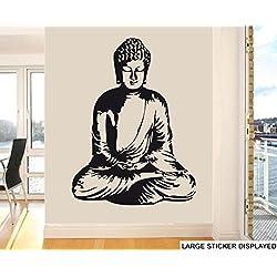 Estatua de Buda wallkraft - grande - Arte de la pared pegatinas de vinilo - 118 cm x 86 cm negro
