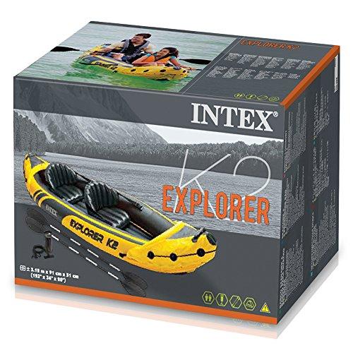 51RimBTyZ0L. SS500  - Intex Explorer K2 Kayak, 2-Person Inflatable Kayak Set with Aluminum Oars and High Output Air Pump