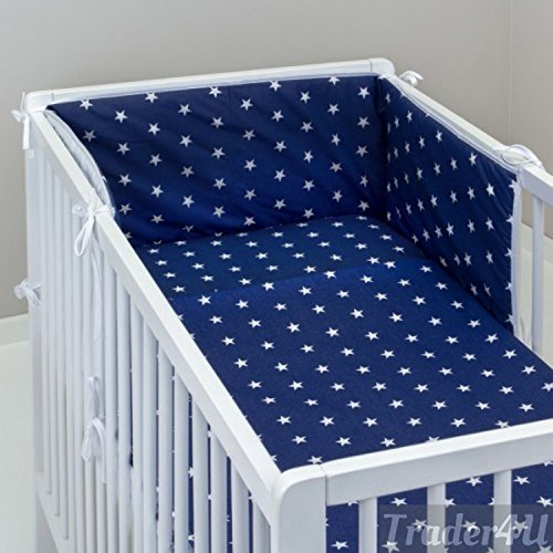 MillaLu 3 Pcs Baby Nursery Bedding Set fit to Cot 120x60cm or Cot Bed 140x70cm Padded Bumper (Fit to Cot Bed 140x70 cm, White Stars on Navy)