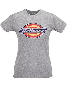 LaMAGLIERIA Camiseta Mujer Slim Deftones Street Logo - T-Shirt Rock nu Metal 100% Algodòn Ring Spun
