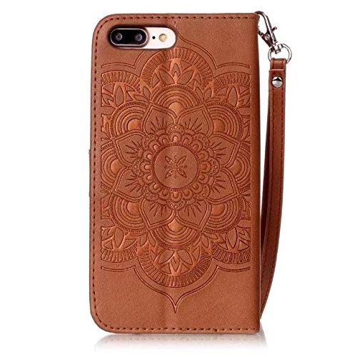 iPhone 7 Plus Hülle, iPhone 8 Plus Hülle, Valenth PU Leder Windspiele Partern Hülle mit Standplatz Feature und Card Slots für iPhone 8 Plus / iPhone 7 Plus 2#