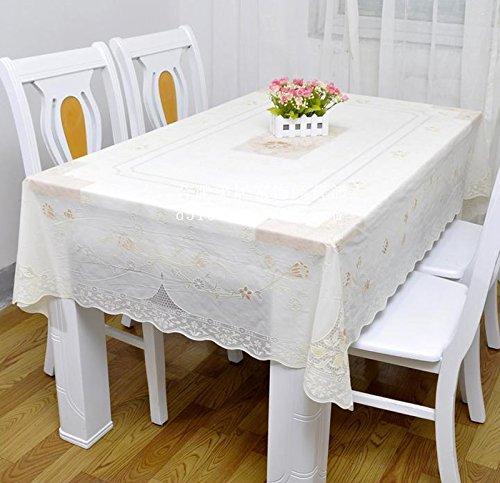 Tao Europäische Klassische Tischdecke PVC Wasserdicht Öldicht Anti-heiße Dicke Kunststoff Tischdecke Matte 55,1 * 78,7 zoll (Farbe : Weiß)