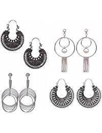 Parinaaz Jewellery Combo Of Fancy Party Wear Oxidised German Silver Earrings And Dangler Earrings For Girls And...