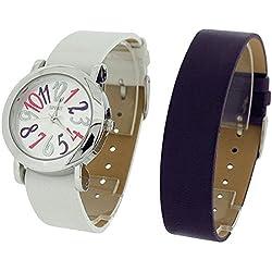 Spirit Ladies Analogue Purple & White 2 Interchangeable Watch Strap Set ASPL60