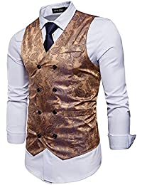 STTLZMC Mens Retro Paisley Waistcoat Double Breasted Slim Fit Sleeveless Formal Wedding Business Vest