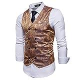 STTLZMC Elegante Herren Weste Formal Paisley Slim Fit Retro Stil Blazer,Gold,l