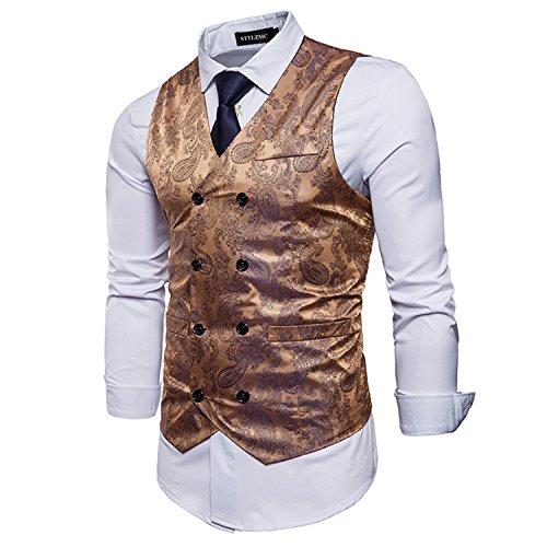 STTLZMC Elegante Herren Weste Formal Paisley Slim Fit Retro Stil Blazer,Gold,s -