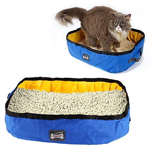 RCruning-EU Caja de Arena Plegable para Gatos Arenero Plegable y portátil para Gatos, Resistente al Agua, para Viajes, al Aire Libre 46 X 35 X 14cm