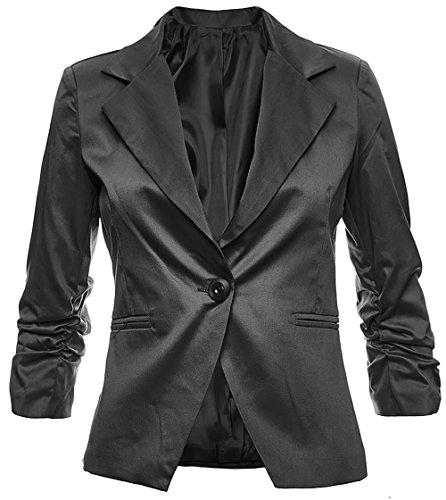 Sambosa Eleganter Damenblazer Blazer Baumwolle Jäckchen Business Freizeit Party Jacke in 26 Farben 34 36 38 40 42, Farbe:Schwarz;Größe:L-38