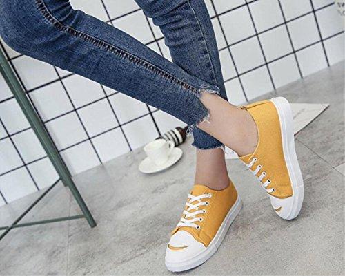 Scarpe classiche classiche alla moda della tela di canapa della tela di canapa Scarpe da tavolo scarpe alla moda degli studenti piatti piccoli yellow