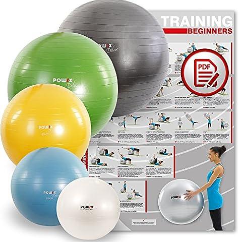 POWRX Gymnastikball Sitzball Anti-Burst inkl. Pumpe und Workout | verschiedene Größen und Farben (Weiß, 75 cm)