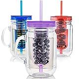 Babz 3x Fruit Infusion infundiert Wasser Mason Marmeladengläser Trinken Topf mit Griff und Trinkhalm 500ml, BPA-frei Blue/Red/Purple