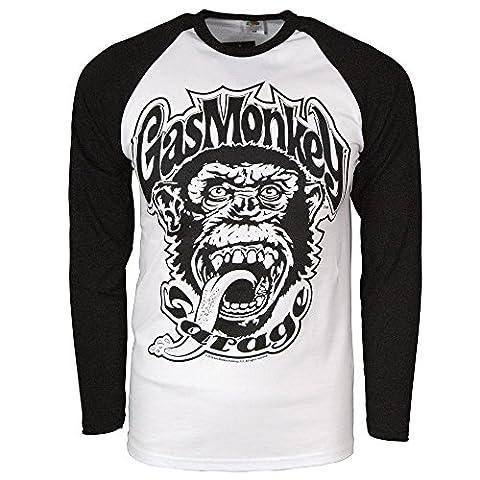 Officially Licensed Merchandise Gas Monkey Garage 04 Baseball Long Sleeve (Black/White), Medium