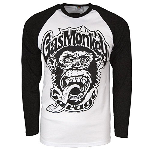 Officially Licensed Merchandise Gas Monkey Garage 04 Baseball Long Sleeve (Black/White), Large