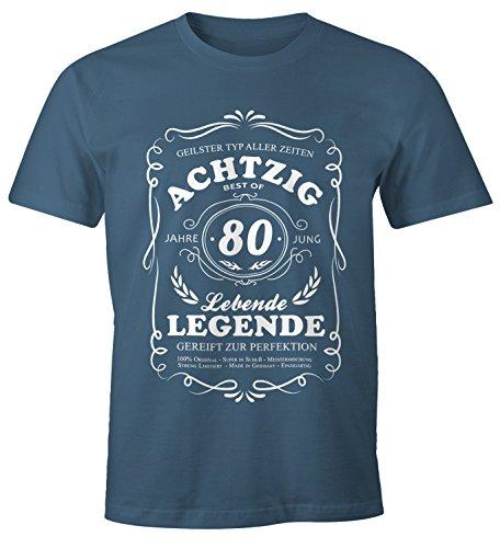 MoonWorks Lebende Legende Herren T-Shirt Geschenk 80. Ten Geburtstag Jahre Denim M