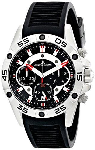 Jacques Lemans - 1-1773A - Montre Homme - Quartz Chronographe - Chronomètre - Bracelet Silicone Noir