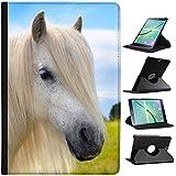 Pony y poni de las Shetland (piel sintética, función atril), diseño con capacidad de soporte para tablets negro Long White Mane on White Pony Samsung Galaxy Tab A 9.7 (2015) - T550