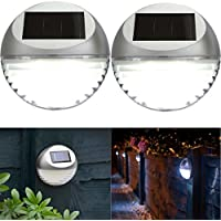 Hillington ® Pack of 10 Solar LED Fence Lights - Silver Bright White Round Hanging Wall Mounted Weatherproof Solar Powered Rechargeable Outdoor Garden Path Fence Wall Walkway Decking Patio Lights with Auto On Off Dusk Dawn – Easy to Install with Supplied Screw Fittings - No Wiring Required
